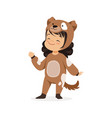 cute happy little girl dressed as a brown puppy vector image vector image