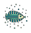 doodle fish in circle shape vector image