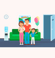 family in clinic room flat vector image vector image