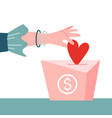 female hand pushing heart love in box charity and vector image