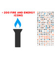 fire torch icon with bonus flame clipart vector image