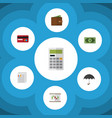 flat icon gain set of calculate greenback vector image vector image