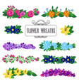 flower wreaths set beautiful floral decoration vector image