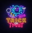 halloween neon sign trick or treat vector image vector image
