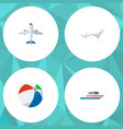 icon flat summer set of ball sunbed ship and vector image vector image