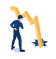 isometric businessman looking at graph falling vector image vector image