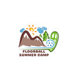 logo floorball summar camp fun cartoon logo vector image vector image