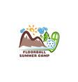 logo floorball summar camp fun cartoon vector image vector image