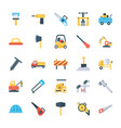 maintenance and site tools flat icons pack vector image vector image