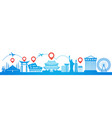 map pointer over famous seoul landmarks travel vector image