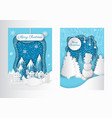 merry christmas paper cut greeting card winter vector image