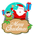merry christmas santa claus and elf isolated vector image