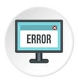 Monitor error icon flat style vector image vector image