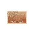 postmark with buildings isolated vector image vector image