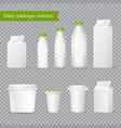 realistic dairy packaging transparent set vector image vector image