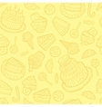 Seamless pattern with sweets on a yellow vector image vector image