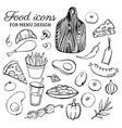 set of line symbols food sketches color icons vector image