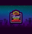 taco logo neon sign on mexican food tacos vector image vector image