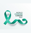 teal ribbon banner for world ovarian cancer day on vector image