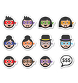 Thief man and woman faces in masks icons set vector image vector image