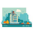 Urban residential building flat of