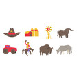 usa ranch icons set agriculture farm cowboy vector image