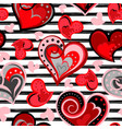 valentine heart seamless background hand vector image vector image