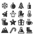 winter icons set on white background vector image vector image