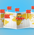 World map with red flag and vehicle vector image vector image