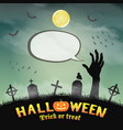 zombie hand in graveyard with cartoon speak bubble vector image