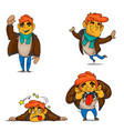 cartoon boy emotions set vector image