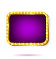 retro light frame purple with light bulbs isolated vector image