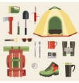 Set of camping equipment symbols icons and tools vector image