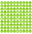 100 bullet icons set green circle