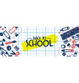 back to school banner fun highschool doodle icons vector image vector image