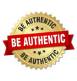 be authentic round isolated gold badge vector image vector image