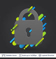 black badge lock shaped sticker vector image
