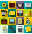 Business and office work icons set flat style vector image vector image