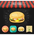 Cheeseburger icon on a chalkboard Set of icons vector image vector image