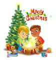 christmas miracle - boys opening a magic gift vector image vector image