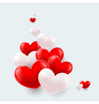composition of red and white hearts vector image vector image