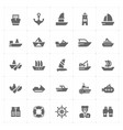 con set - boat and ship filled icon style vector image vector image