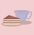 cup with slice of sweet cake vector image vector image