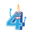cute birthday candle number character four vector image vector image