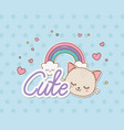 cute cat and rainbow stickers kawaii style vector image vector image