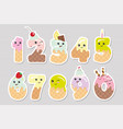 cute kawaii numbers made of sweets funny stickers vector image vector image