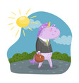 cute unicorn businessman character in a suit with vector image vector image