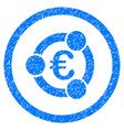 euro collaboration rounded icon rubber stamp vector image