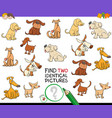 find two identical dog pictures game for kids vector image vector image