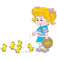Girl feeds chicks vector image